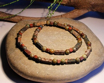 Mens Gemstone Necklace Jasper Unakite Free Worldwide Shipping