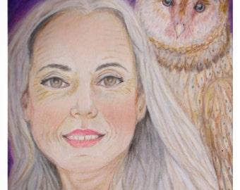 Original Fine Art 8 by 10 print , Sage Art, Master, Wisdom, Sacred Woman Art,Colored Pencil Print, Owl Art, Animal Totem, Meditation Art Owl