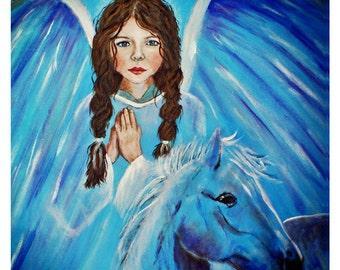 Original 8 x 10 Child Angel & Horse Print, Fine Art Print, Inspirational, Children's Decor,Nursery room, Earth Angel, Blue, Horse, Angel