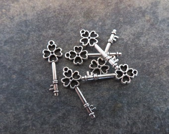 12 Clover Key Charms Small Lucky Four 4 Leaf Clovers Keys Silver Tone St Patrick's Irish Special Key Charms 25x9 mm