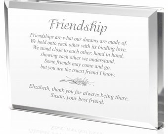 Engraved Friendship Gift Plaque