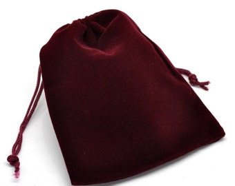 6 red 12x10cm velvet small gift bag pouches7830A
