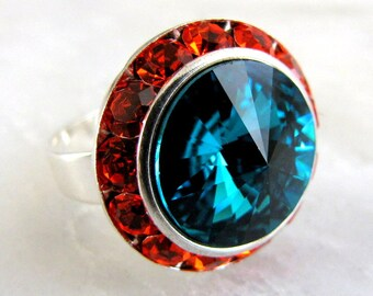 Vintage Blue Zircon on Hyacinth Swarovski Crystal Ring Adjustable Silver Hyacinth Halo