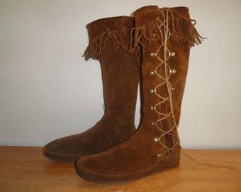 Men's Vintage Chestnut Brown Leather MINNETONKA 1772 Hippie Boho Fringe Woodstock 1960's Side-Lace Boots Sz-12