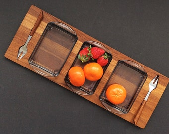 Vintage Danish Modern Teak Condiment Serving Tray - Mid Century Modern Relish Tray - Glass Dishes Stainless Steel Forks - Teak Party Server