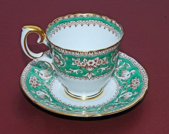 "Vintage Crown Staffordshire Bone China Demitasse Cup and Saucer ""Ellesmere Green and White Pattern"