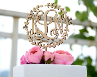 Monogram Wedding Cake Topper, Rustic Wedding Cake Topper, Linden Wood Cake Topper, Personalized with Vine Font Initials 133