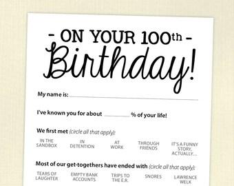 100th Birthday Party Game Card, Funny Milestone Printable PDF