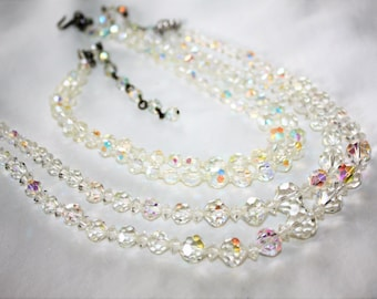 Crystal  Necklace, 2 AB Crystal Necklaces, Double Strand Necklace, Vintage 1950s