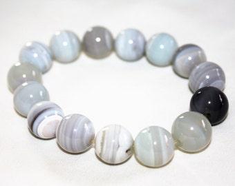 Vintage Grey Banded Agate Bracelet, 1970s Jewelry, Natural stone Bracelet, Boho Jewelry