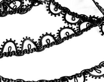 "5 Yards of 5/8"" Fabulous Vintage Black Lace Trim. Shiny Black Satin Tone. Edging Trim. Double Loop Design. Sewing, DIY Crafts. Item 3504T"