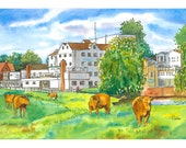 Cattle by the Mill Hotel Limited Edition Giclee Print