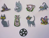 Hand Drawn Sticker Pack, Set of 9 Stickers, Cat Stickers, Witch Stickers, Magical Stickers, Pagan Stickers, Hand Made Stickers
