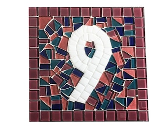 Outdoor House Number Sign -- Pink and Blue Mosaic Sign -- Address Plaque