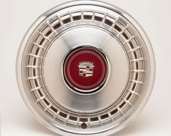 CADILLAC HUBCAP - Vintage 1970's Cadillac Wheel Cover - Beautiful Stainless Steel with Emblem in the Middle