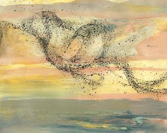 Flock of Sea Birds Color sketch #1 - Original Acrylic Painting