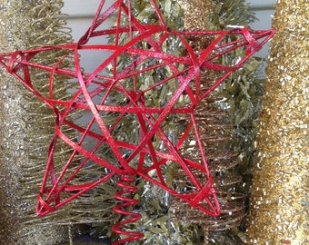 """8"""" Red Star Christmas Tree Topper, Red Metal Star, Christmas Tree Decoration"""