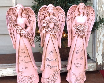 Christmas  Angel Statues -  Set of 3 Angels - Antique Pink Christmas Holiday Table Top Decor