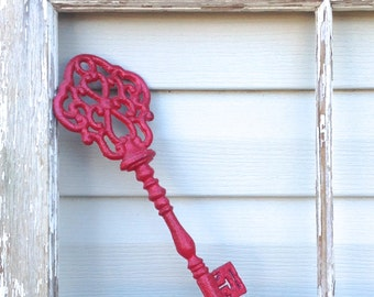 "12"" Red Casted Metal Key - French Inspired Cottage Chic"