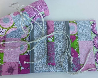 Ready to ship! Magenta, Gray, Pink, White, Green, and Purple Patchwork Travel Jewelry Roll