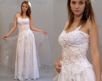 Ethereal Angelic Boho White Lace Dress Unique Bridal Dress - Rebecca
