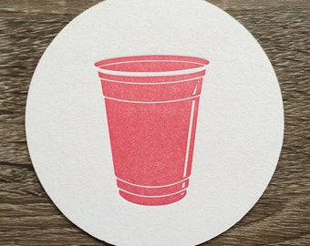 Red Solo Cup Letterpress Coasters. Set of 10 drink coasters perfect for Ole Miss fans. They make great stocking stuffers!