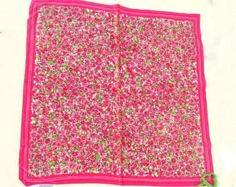 """Vintage Designer Talbots Floral Silk Scarf 21"""" Square"""
