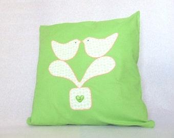 Cushion. Love Birds applique fabric cushion - scandi-style.  Love birds cushion. Fabric cushion. Applique cushion. Lime Green cushion.