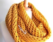 SALE Mustard Gold Lace Oversize Knitted Scarf Extra Long Open Stitch Wrap Neckwarmer Scarves Crystal Pin Women Accessories Fall Winter Sprin