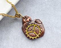 Steampunk Heart Necklace handmade OOAK polymer clay rustic gear macabre cosplay fantasy jewelry