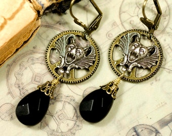 Nyx, earrings in the steampunk/Gothic-style