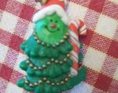 Vintage Christmas Pin Hallmark Lapel Pin Plastic Smiling Christmas Tree circa 1981