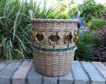 Sunflower Waste Basket Yellow Sunflower Basket Handwoven Basket