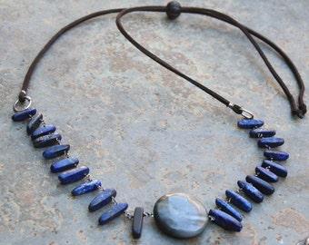 Adjustable Necklace, Vegan Necklace, Stone Necklace, Cruelty Free Necklace, Boho Necklace, Vegan Jewelry, lapis Necklace, Blue Grey