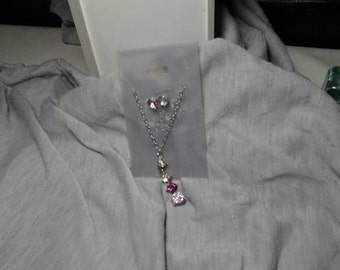 Purple and Pink Drop Necklace and Earrings Set