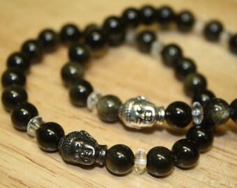 8mm Sheen Obsidian Stretch Bracelet