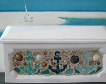 Anchor Seashell Wall Mount Mailbox-Beach Wall Mount Mailbox-Coastal Home Decor