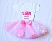 BUBBLEGUM PINK CHEVRON Birthday Girl Set - 3d Cupcake Onesie and Tutu Skirt and Matching Flower Headband- 1st 2nd 3rd 4th 5th Birthday