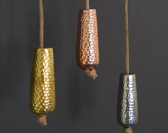 Metallic Copper, Gold And Silver Bathroom Light Pull