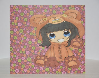 Cute as a Button Kawaii Card