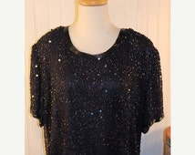 50% Off Valentines Sale 80s Vintage Silhouette Black Irridescent Silk Beaded Sequin Prom Party Cocktail Dress Sz 20