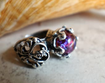 Dragons breath glass opal ring in antique silver plated brass