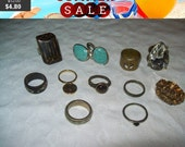 SALE 60% Off Vintage Statement Rings, fun lot of rings, vintage rings, destash rings lot A1
