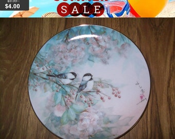 SALE 60% Off Bird collectors Plate, Song of the Cherry Blossom, Franklin Mint Heirloom Recommendation series