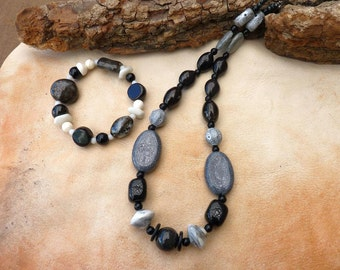 Black & White Beaded Boho Necklace, Maui Moon Goddess, Tribal Fusion, Bohemian, Ceramic beads, Gypsy, Healing, Maui jewelry, Wiccan