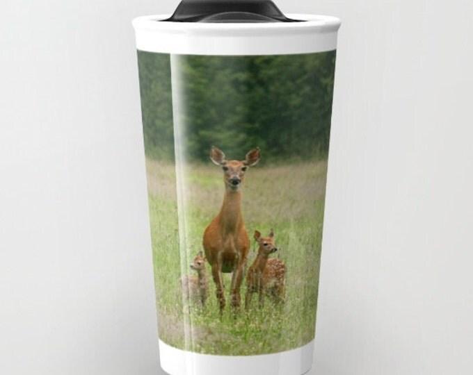 Deer with Twin Fawns, travel mug, Photo Travel Mug, Wildlife Mug, Photography