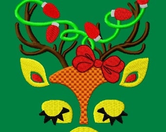 Deer Face with Christmas Lights Embroidery Design 4 sizes INSTANT DOWNLOAD