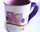 Sale / Spring Owl Mug, Ceramic Owl Mug, Owl Coffee Mug, summer, owl coffee mug