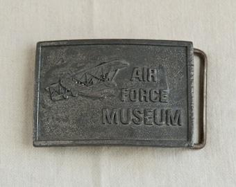 Vintage Air Force belt buckle…Air Force Museum...wood propelled plane…1976 airplane belt buckle…Kinney.