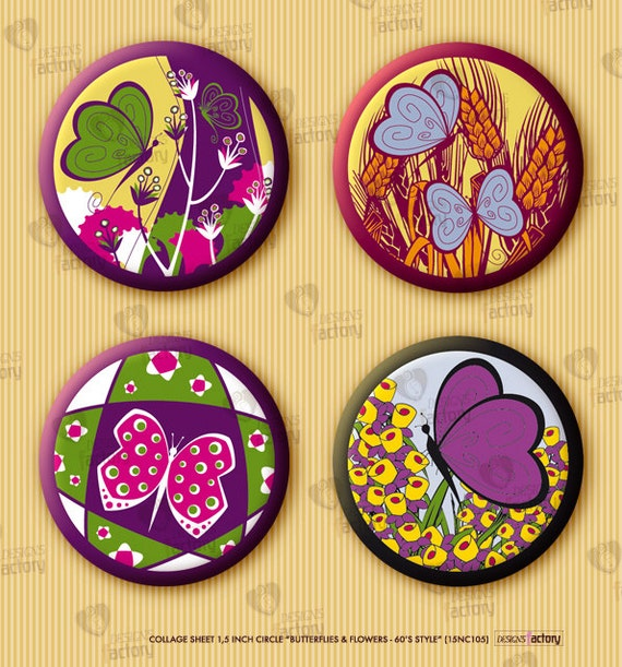 """Collage sheet 1,5 inch circle """"Butterflies and Flowers - 60's Style"""" (15NC105) 30 images. Digital supplies for craft differents applications"""